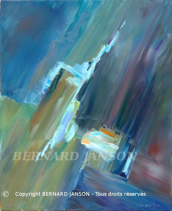 abstract painting with a blue dominante colour