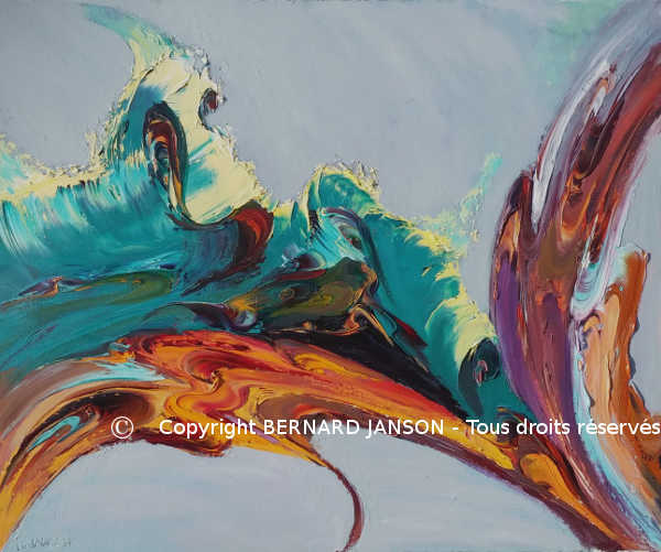 abstract painting referring to a tectonic shift with warm and cold colours