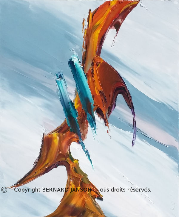 symbolic abstract painting a bird in flight