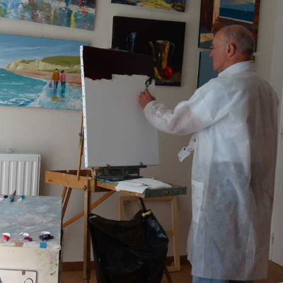 studio painting artwork of Benard Janson contemporary french artist painter