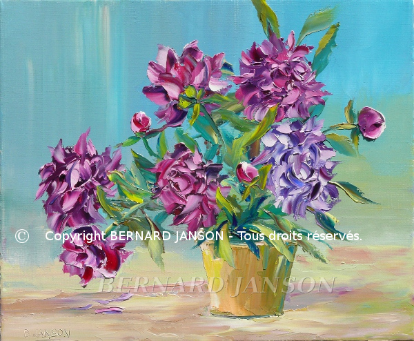 figurative artwork; oil painting knife; bunch of peonies