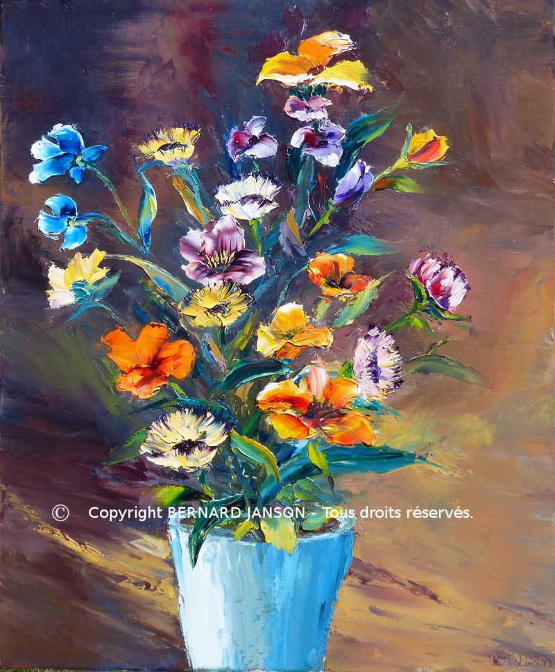 modern canvas oil painting knife; bunch of flowers with sepia background