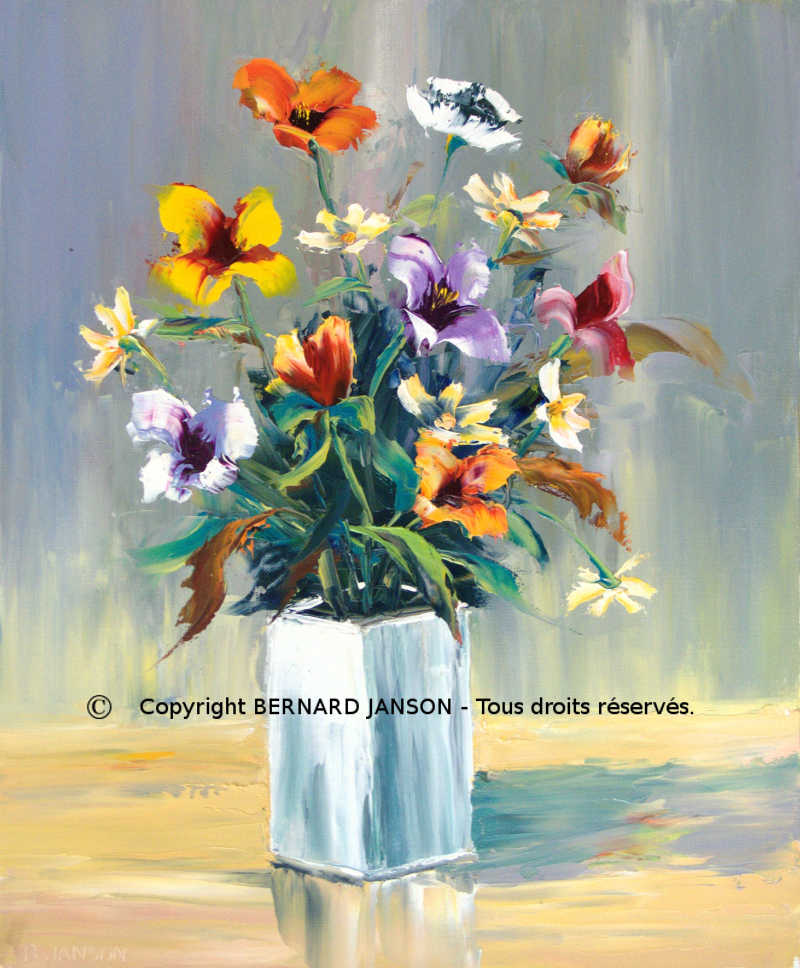 modern painting knife artwork; a bunch of various flowers in a white vase