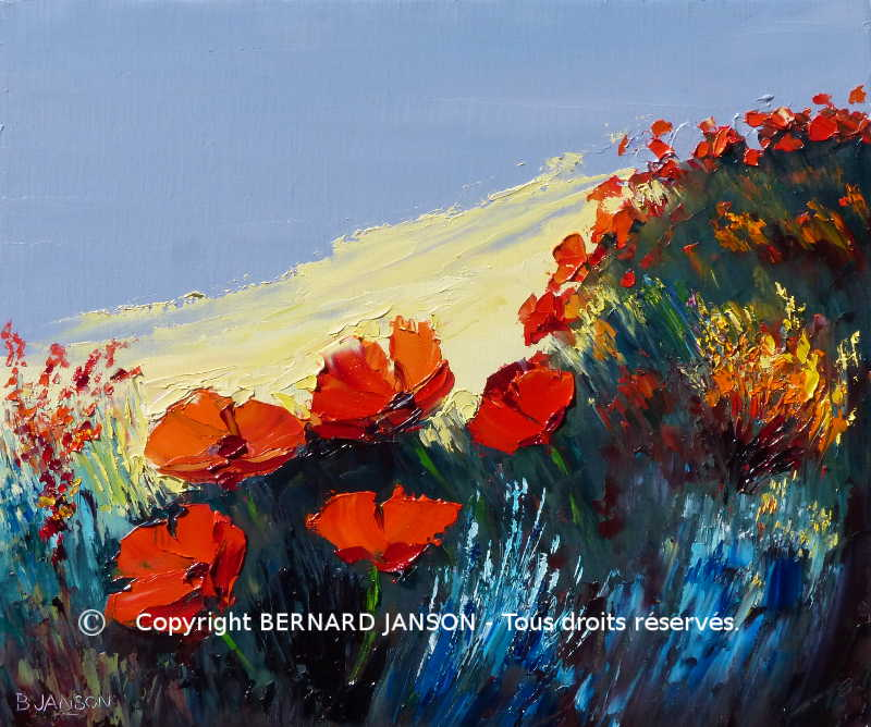 modern artwork oil painting knife; poppies in nature