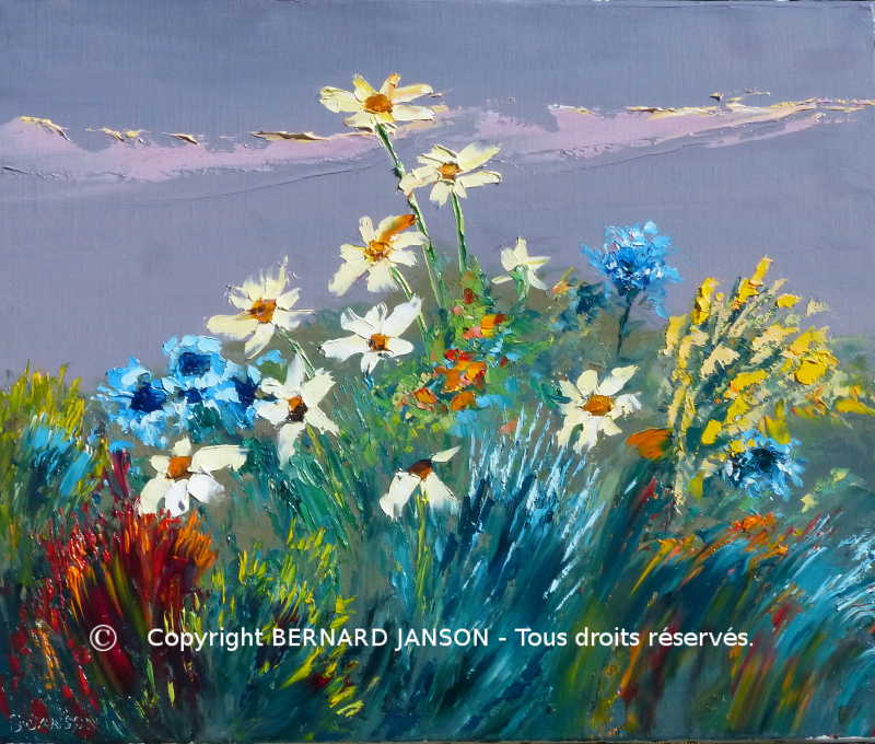 contemporary artwork; spring flowers blossom with their nice coloring