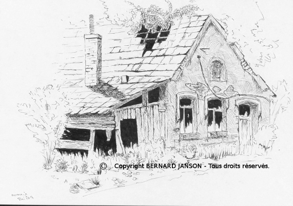 drawing with indian ink; abandoned old house in countryside north of France