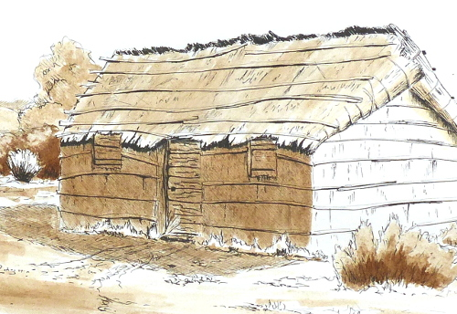 ancient fishing huts; drawing ink and lavis