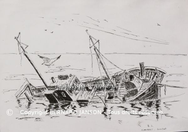 drawing of a wreck boat in brittany
