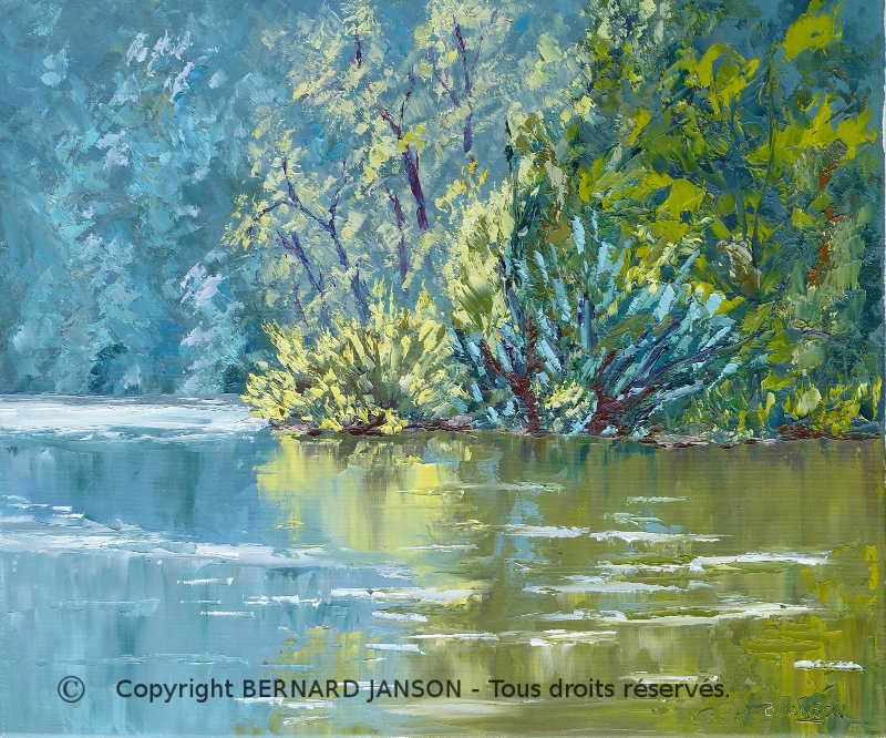 palette knife painting oil on canvas; brightness morning on a lake