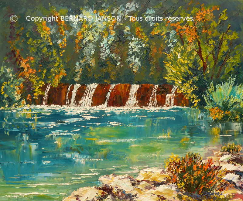 canvas painting knife ; waterfall in summer with greenesh foliage