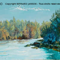 artwork on canvas; a river bank with trees
