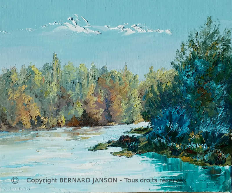 painting knife; morning automn sunshine on the banks of a lake