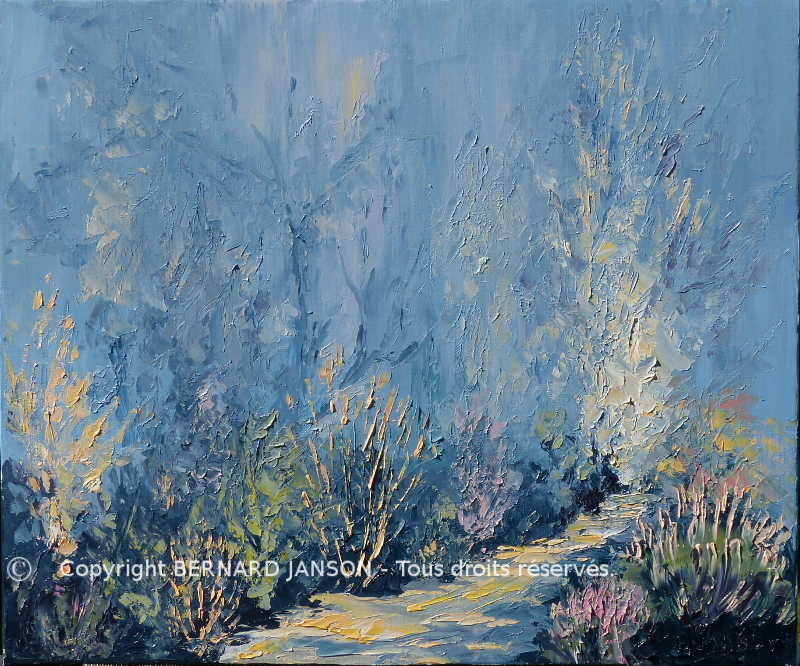 artwork palette knife painting ; wintry undergrowth with sun light in foliage