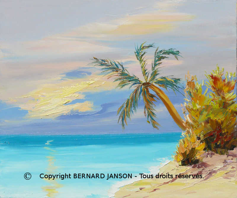 painting knife paradisiacal maldivian seascape with turquoise sea and white sand