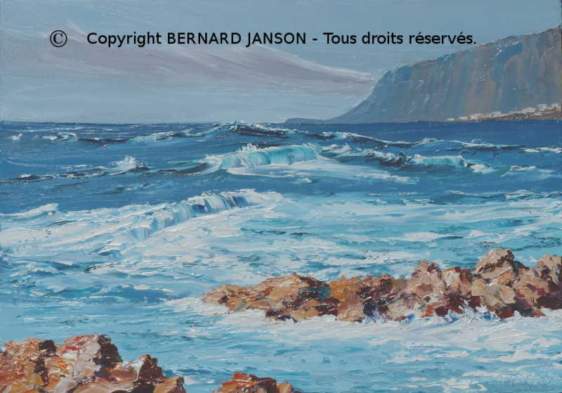 palette knife artwork; seascape with rough sea inTenerife a canary island