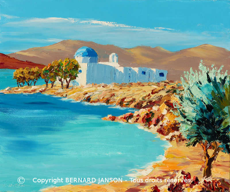 oil on canvas; a small greek island and a church with a blue roof