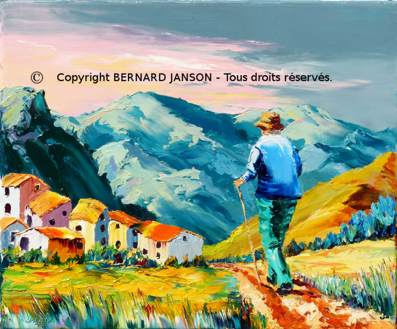 modern painting knife showing a hiker in a small foot path in mountains