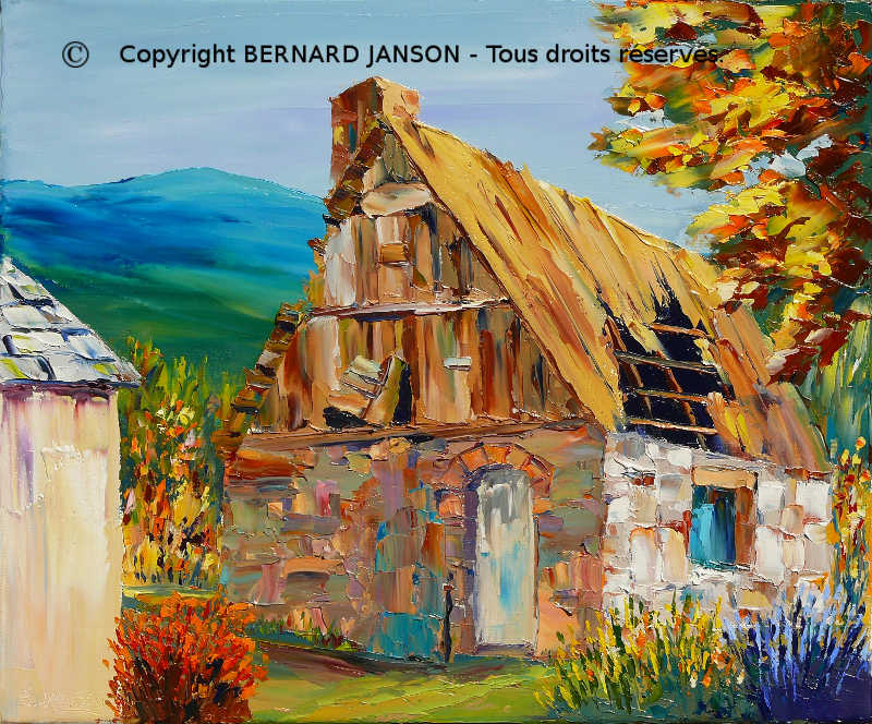 oil on canvas; an abandoned house with a crumbled roof in a mountain