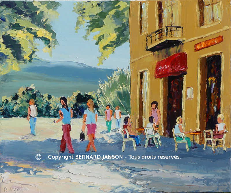 a moderne oil painting knife of a french street scene with figures