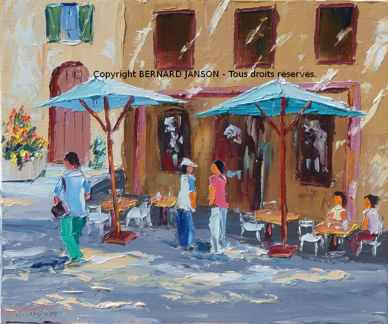 a painting knife of a french terrase cafe with figures and sunshine