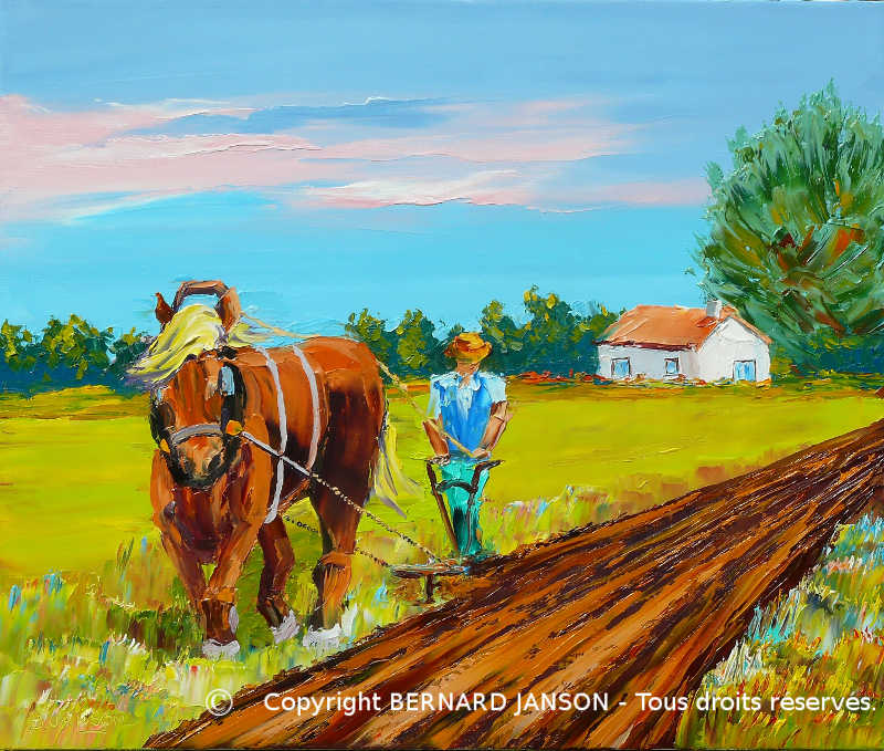 painting knife; rural life scene; ploughman with workhorse in countryside north of France