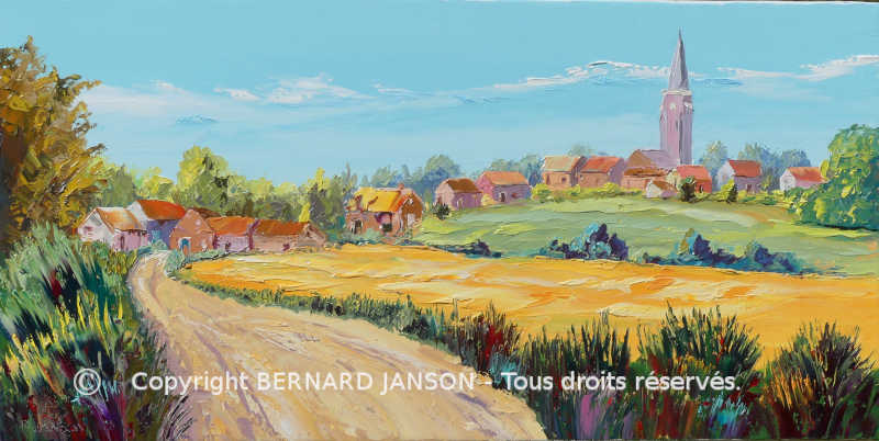 painting knife countryside village Mons en pevele in France