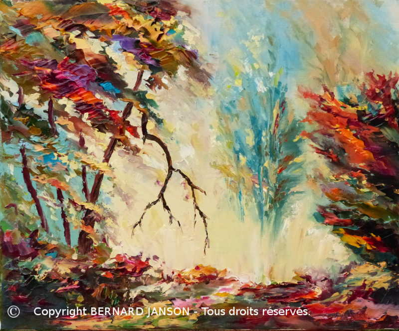 painting knife; landscape forest; undergrowth automn light