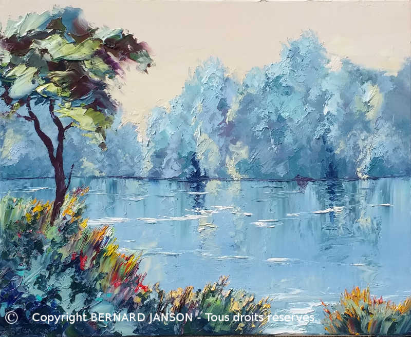 painting knife; a quiet morning on the banks of a laek