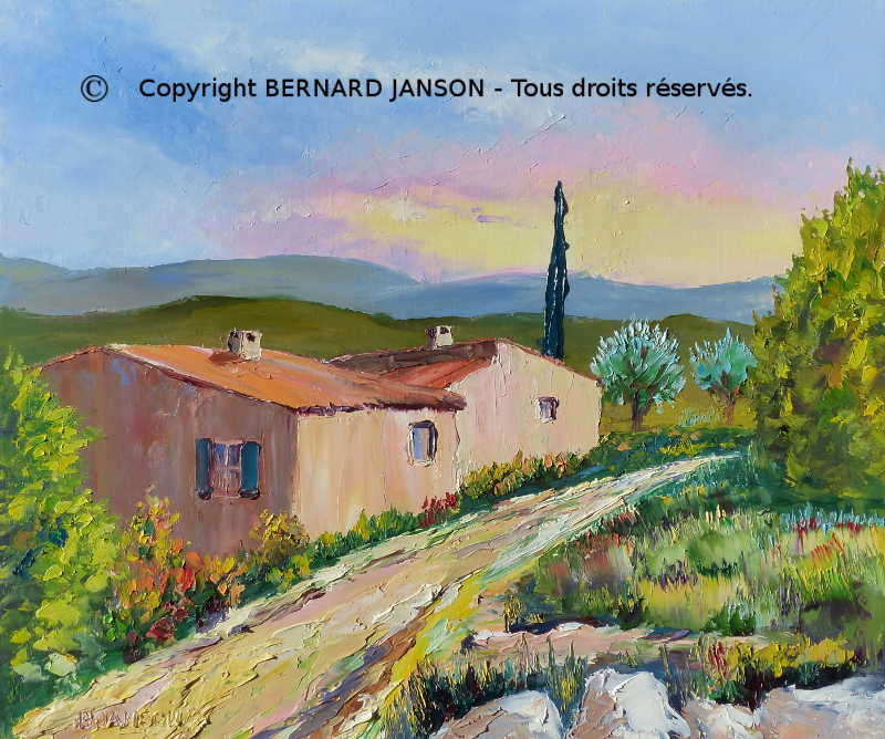 modern painting knife of a typical provence landscape with traditional houses