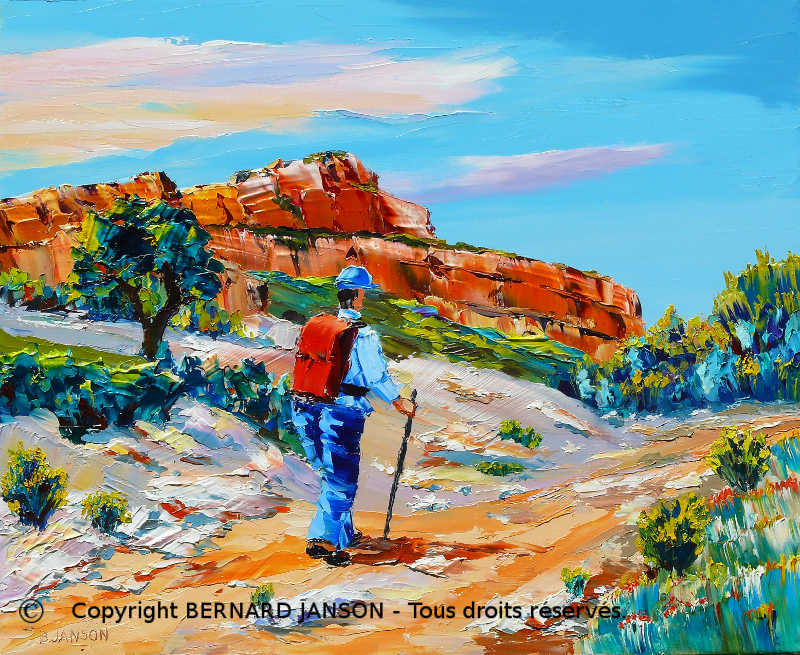 artwork; provence landscape with a hiker