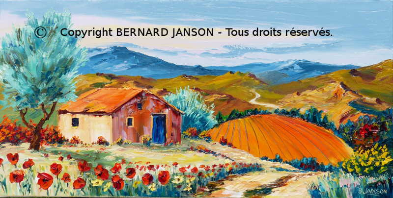 painting knife; landscape with a smal stoned barn in provence