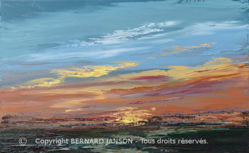 modern oil on canvas a sunset with its shimmering colours