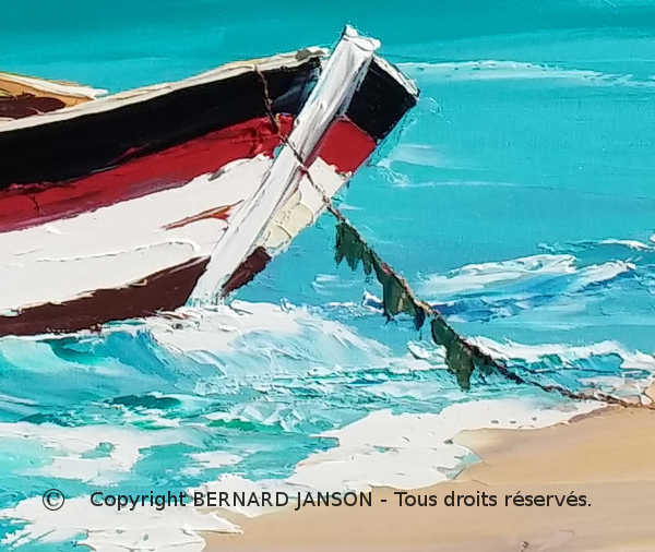 modern oil on canvas, fishing boat at anchor