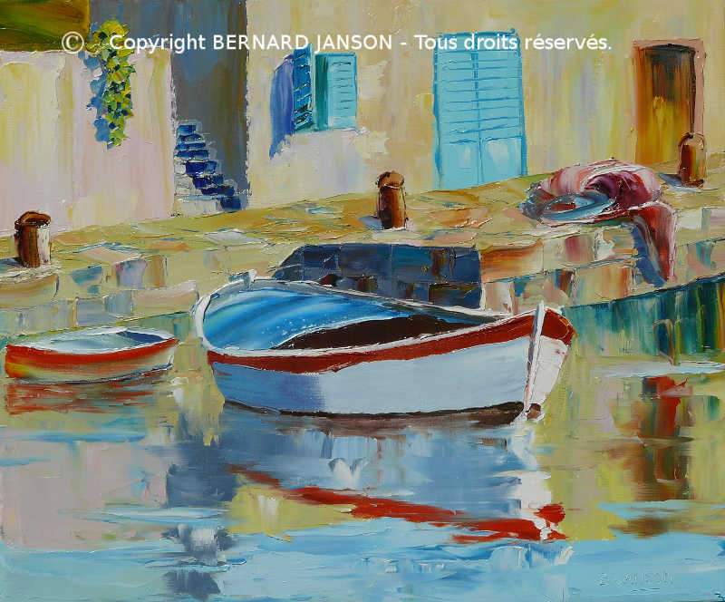 representative and modern painting knife, boat at harbour