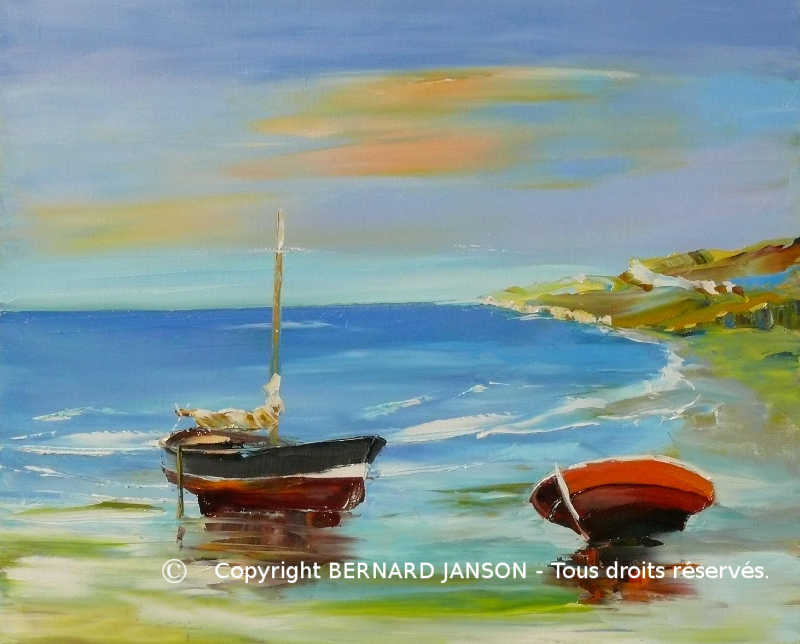 oil paintig knife; seascape with boats on seashore and a strong contrast between sky and water
