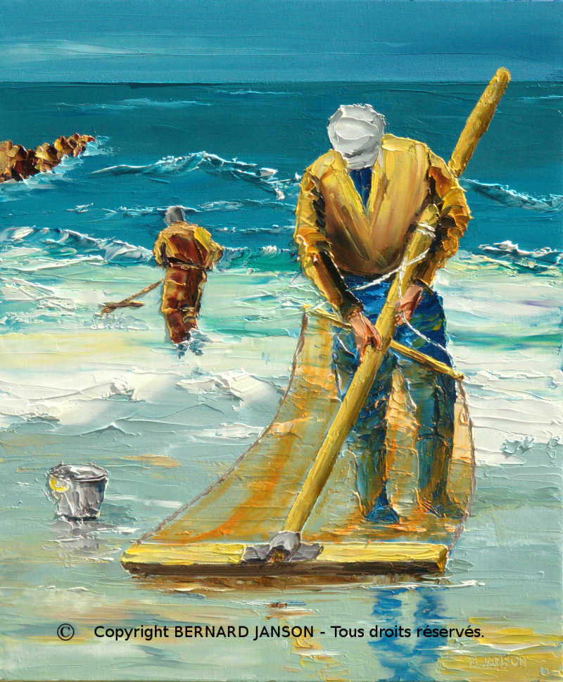 oil on canvas; shrimp fishermen by a grey weather