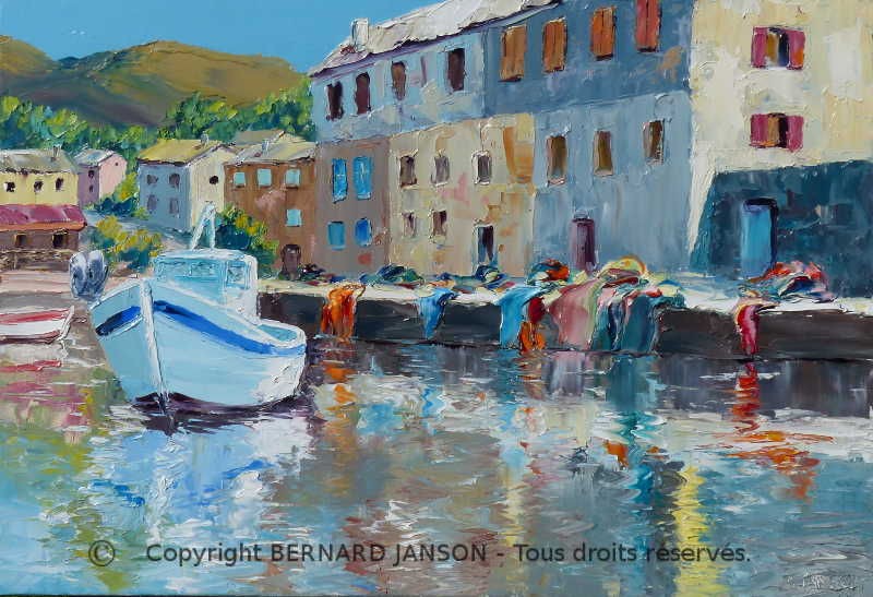 modern representative artwork; a nice small fishingport with multicolor fishing nets