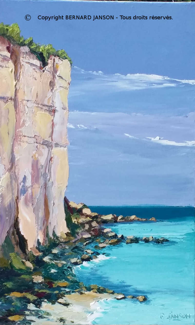modern painting knife; Normandy chalk cliffs