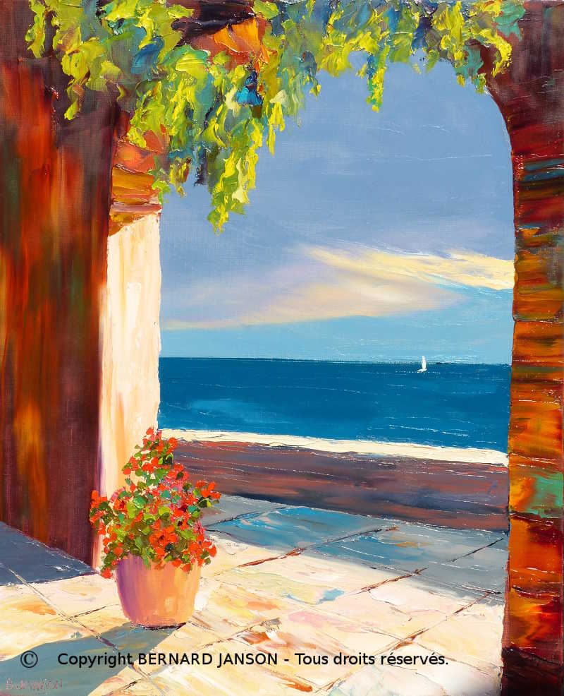 oil on canvas; a sunny terrace with flowers and a sea view