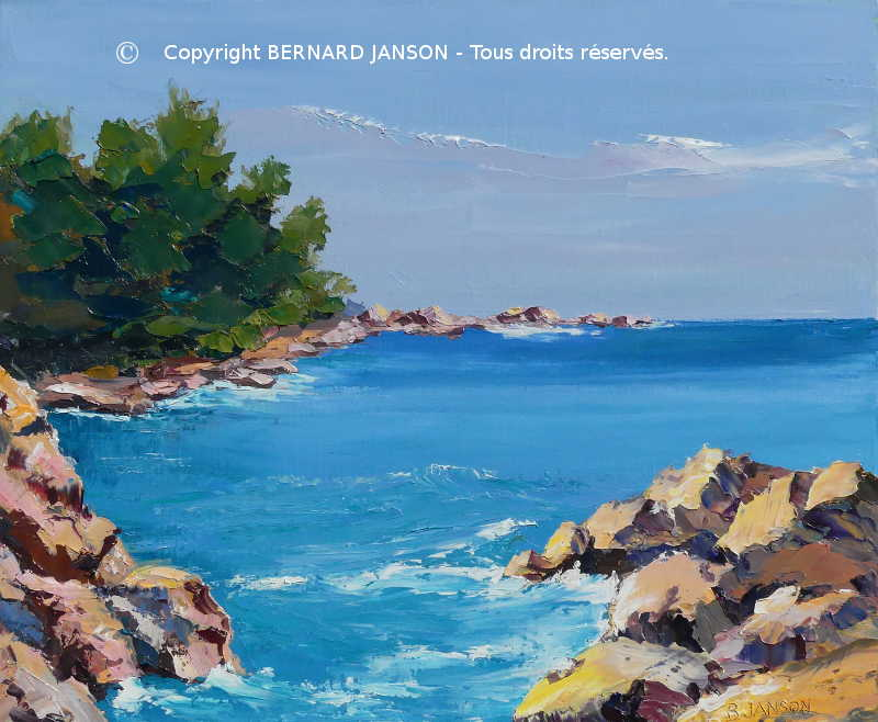 modern palette knife painting by Bernard Janson french artist painter showing a tiny inlet with colored rocks