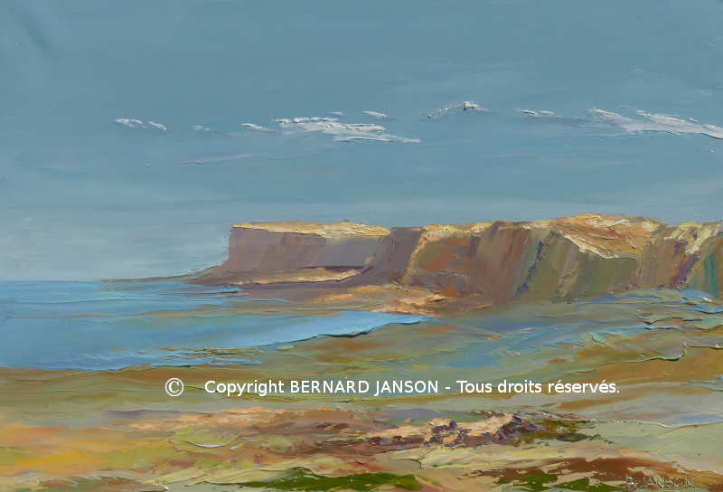 canvas painting knife, seascape with cliffs far away