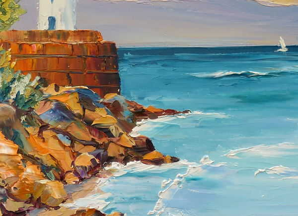 briton seascape with a lighthouse rocks and the shape of a boat