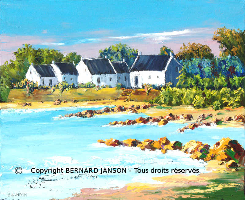 artwork brittany  seascape remarkable seashore and small  traditionnal houses